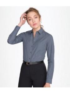 SOL'S Ladies Barnet Long Sleeve Heather Poplin Shirt