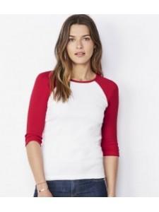Bella Baby Rib 3/4 Sleeve Contrast T-Shirt