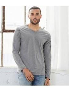 Canvas Unisex Long Sleeve Tri-Blend V Neck T-Shirt