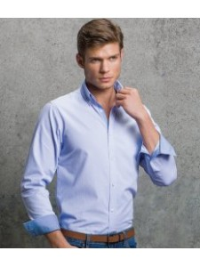 Kustom Kit Clayton & Ford Micro Check Long Sleeve Poplin Shirt