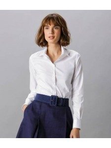 Kustom Kit Ladies Long Sleeve Tailored Stretch Oxford Shirt