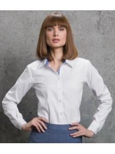 Kustom Kit Ladies Long Sleeve Contrast Premium Oxford Shirt